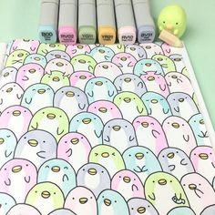 KiraKira Coloring Book – Kawaii Doodle Coloring Fun – - Sites new Copic Marker Art, Marker Kunst, Copic Art, Kawaii Drawings, Doodle Drawings, Cute Drawings, Doodle Art, Easter Drawings, Copic Drawings