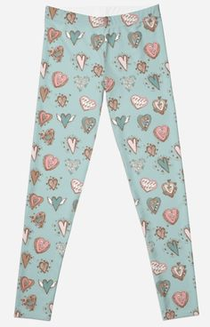 ' pattern with hearts. Blue, pink, brown' Leggings by EkaterinaP Gothic Leggings, Brown Leggings, Pink Brown, Hearts, Room Decor, Trends, Trending Outfits, Fabric, Pattern