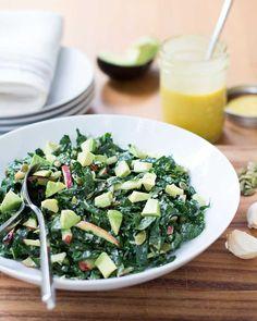 Kale Salad with Apple, Avocado, Parmesan & Honey Mustard Vinaigrette  via @kiwiandbean/ #applecidervinegar #kale #avocado #salad  1 garlic clove, crushed 1/2 tablespoon honey 1 tablespoon dijon mustard