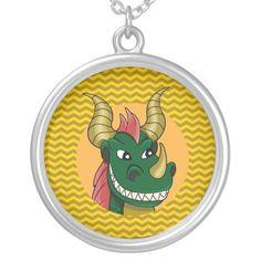 Green dragon cartoon pendant
