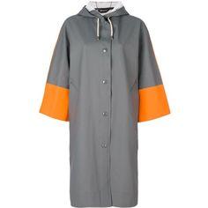 Marni x Stutterheim contrast sleeve raincoat ($670) ❤ liked on Polyvore featuring outerwear, coats, grey, colorblock coat, color block coats, rain coat, hooded coat and hooded rain coat #RaincoatsForWomenGray