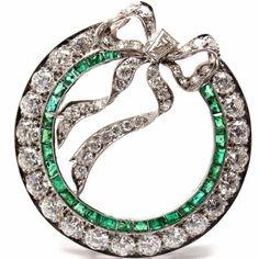 Art Deco Diamond & Emerald Bow Platinum Pin Brooch