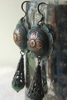 Large Dangle Earrings Cowgirl Dark Copper Turquoise by lilruby, $20.00