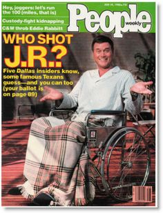 Who Shot J.R.?  I remember seeing this magazine at the checkouts in summer 1980.  The answer was Kristin Shepherd, Sue Ellen's conniving little sister who later drowned in the swimming pool of the Southfork ranch.