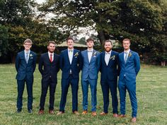 the groom and groomsmen all in shades of blue suits! ~ we ❤ this! moncheribridals.com