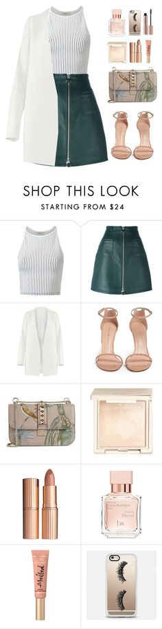 """""""Stripes.. And stuff"""" by heba-j ❤ liked on Polyvore featuring EGREY, Carven, Non, Stuart Weitzman, Valentino, Jouer, Charlotte Tilbury, Maison Francis Kurkdjian, Too Faced Cosmetics and Casetify"""