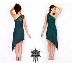 One shoulder dress. Pixie dress. faery dress. Burning man dress. Mandala dress. Summer dress. little dress. Stretch dress. by AbstractikaCrafts on Etsy https://www.etsy.com/listing/197136574/one-shoulder-dress-pixie-dress-faery