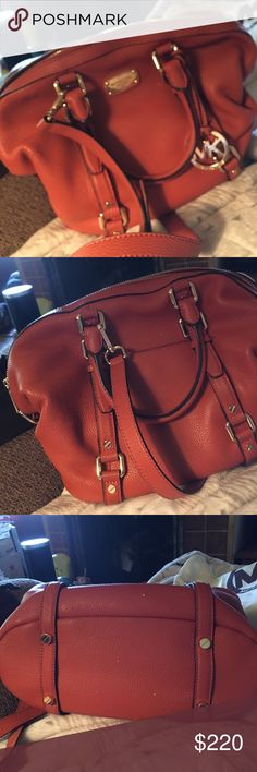 """Michael Kors Bedford Bag This bag, this bag, Oh my, beautiful burnt orange color with gold accents, very roomy!! 1 zip & multiple slip pockets, the exterior has a slip pocket in back, there's an adjustable yet detachable strap (drop is 23"""") to carry as a crossbody.  Double rolled handles have a drop of 5"""" There's no rips, stains or tears, one could say it's brand new, there are a few scratches on gold hardware price reflects that. It measures 12 X 11 X 5.5 Comes with a dust bag! no trades…"""