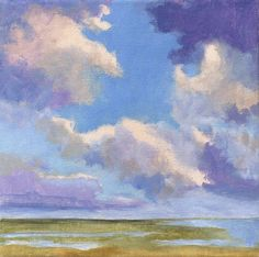 Original Landscape Painting on Canvas Clouds 8x8 by Petite Malou
