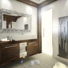 Interiér domu s použitím prírodných materiálov - Fotoinšpirácia Bathtub, Vanity, Glamour, Mirror, Bathroom, Frame, Furniture, Home Decor, Elegant