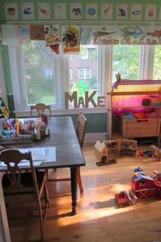 Tinkering Spaces: Interview with Emilie Brehm | TinkerLab --- Creative Experiments for Kids - there are so many things I love about this child/play friendly room!