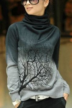 Love Love Love this Sweater! Grey Tree Print High Neck Sweet Pullover Sweater