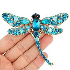 Ever Faith Gold-Tone Luxury Austrian Crystal Animal Dragonfly Brooch Blue Vintage Jewelry Crafts, Handmade Beaded Jewelry, Brooches Handmade, Beaded Dragonfly, Dragonfly Pendant, Jewellery Uk, Jewelery, Fashion Jewelry, Bead Embroidery Jewelry