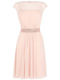 Coast Lori Lee Cap Sleeve Knee Length Dress Soft Pink Blush - House of Fraser