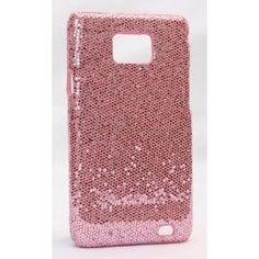 Galaxy S2 vaaleanpunaisen värinen glitter suojakuori.