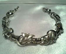 Vintage Crown Trifari Silver Rhinestone Fancy Evening Costume Bracelet