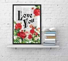 Book print art Love  Roses collage  Upcycled book page Art Dictionary book print BPBB042