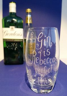 Personalised Gin Glass hand engraved gift Gin and Tonic