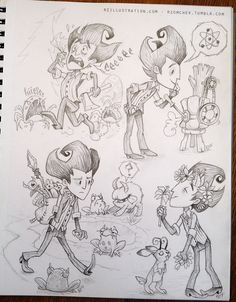 "Another ""Don't Starve"" sketch page! First Wilson piece here and Chester sketches here. Love this game! #dontstarve #wilsonphiggsbury rzomchek.tumblr.com"