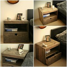 Pallet Nightstand #DIY, #PalletNightstand, #ReclaimedPallet, #RecycledPallet, #SideTable, #Wood