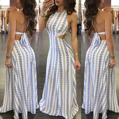 Printed Strappy Backless Maxi Dress