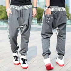 Free shipping 2013 Autumn new men's casual trousers Fashion narrow feet cotton drop crotch pants mens hip hop harem sweatpants-in Pants from Apparel & Accessories on Aliexpress.com