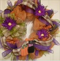 Purple and orange with blak cat wreath