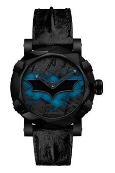 To honor the 75th anniversary of DC Comics' Batman, Romain Jerome launches its first Super Hero timepiece – the Batman-DNA. Limited edition of 75 pieces, blue-emission black superluminova... reference number RJ.T.AU.WB.001.01, retails for $18,955, or €14,950.