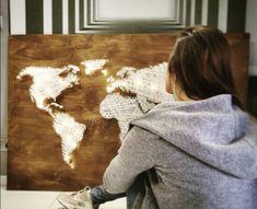#striMAPArt Me On A Map, String Art, Shag Rug, Maps, World, Handmade, Crafts, Decor, Shaggy Rug