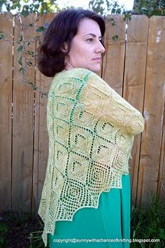 Sunny with a Chance of Knitting: New Design: Lemon Drops Shawl.