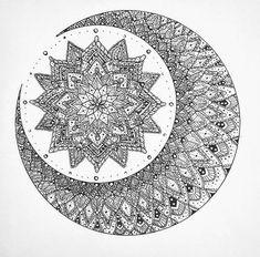 coloriage de mandala, papier blanc, motifs floraux, points, volutes, cercles, motifs lune, petit mandala