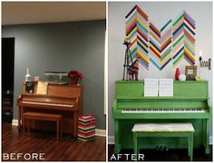 Painted Piano Before and After