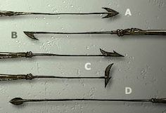 Formes de harpons : Le harpon à double tranchant (A) fut longtemps l'outil habituel de pêche aux baleines. A partir de 1840, on utilisa le harpon à simple tranchant (B). En 1848, on inventa le harpon à tête articulée (C) dont la tête, sous l'action de la vitesse et du poids se plaçait en travers et formait ainsi des barbelures efficaces. La proie n'était jamais tuée sous l'action seule de ces harpons. Ils servaient seulement à pouvoir attacher la baleine au bateau et, par là, à la fatiguer…