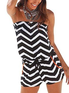Women's Strapless Printed Beach Short rompers jumpsuits