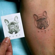 grandfather tattoo This artist makes hyperrealistic pet tattoos! K works at Bang Bang Tattoos in NYC and is known for his micro pet portraits. They take at least two hours becau Tattoo Bulldog, French Bulldog Tattoo, French Bulldog For Sale, French Bulldog Art, French Bulldogs, Dachshund Tattoo, Tattoos For Dog Lovers, Dog Tattoos, Mini Tattoos