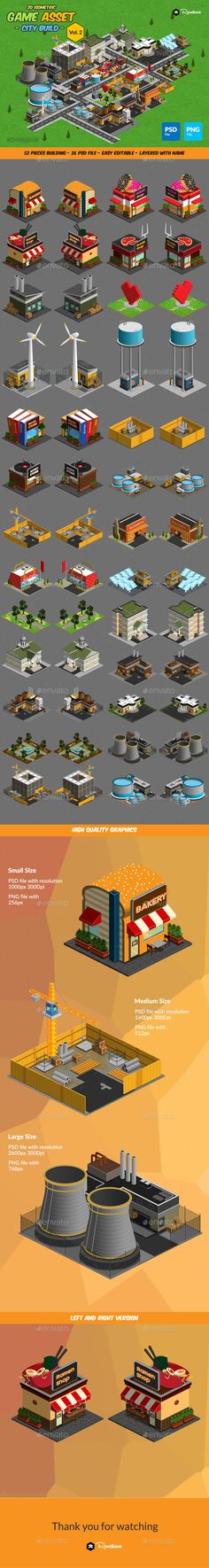 2D Isometric Game Asset - City Build Vol 2 - Tilesets Game Assets