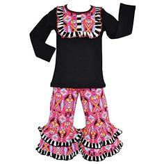 ccef8fc1fbd AnnLoren Little Girls Hot Pink Winter Aztec Motif Tunic Pants Outfit 2T-6X  Aztec Print