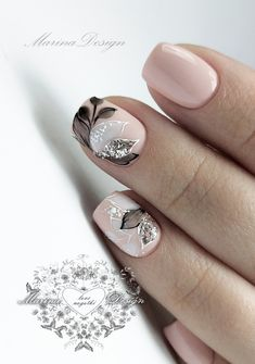 The Best Wedding Nails 2019 Trends ❤ wedding nails 2019 nude black grey flowers leaves nail_marina_disign Cute Nails, Pretty Nails, Hair And Nails, My Nails, Gold Nail Art, Bride Nails, Manicure E Pedicure, Gel Nail Designs, Flower Nails