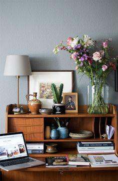 Bohemian Home Office - creating a little blogger home office with a vintage teak bureau and a boho vibe.