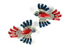 Trifari Red and Blue Enameled Rhinestone Bird Clips ~ from Anna's Vintage Jewelry on Ruby Lane
