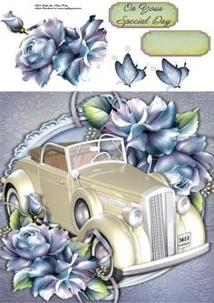 """Beautiful Cream Wedding Car With Pale Blue Roses 8x8 on Craftsuprint designed by Amy Perry - Beautiful Wedding Car With Pale Blue Roses 8x8 in lovely pale blue ornate frame with corner flowers, also has decoupage and choice of tag """"On Your Special Day"""" and a blank tag for your own sentiment - Now available for download!"""