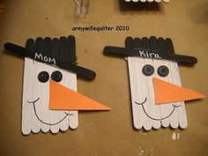 popsicle stick snowmen ornaments - with grade 2 and their buddy class (gr 6)