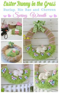 Easter Decorations 793759503054364456 - Easter Bunny in the Grass Burlap Ric Rac and Chevron Spring Wreath at The Happy Housie Source by Easter Projects, Easter Crafts For Kids, Easter Decor, Fun Projects, Hoppy Easter, Easter Bunny, Easter Eggs, Holiday Wreaths, Holiday Crafts