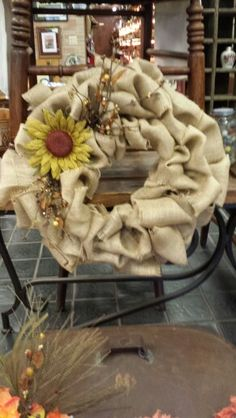 Burlap Wreath $30