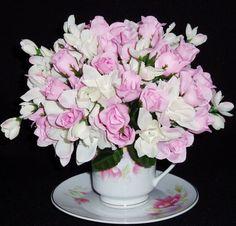 Teacup Spring/Summer Silk Floral Arrangement
