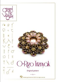*P pendant tutorial / pattern O-Rizo pendant with Rizo beads ..PDF instruction for personal use only