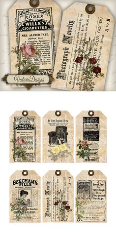 Ephemera Tags with Flowers printable gift tags by VectoriaDesigns