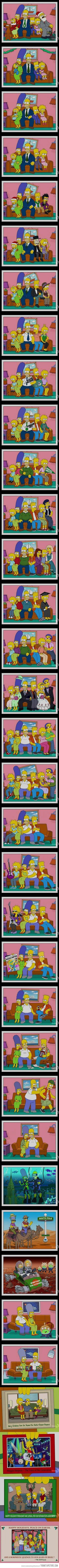 The Simpsons' Christmas Card Photos Through The Years