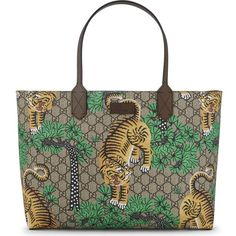 Gucci Bengal GG Supreme shopper ($875) ❤ liked on Polyvore featuring bags, handbags, tote bags, brown leather tote bag, leather tote bags, brown leather handbags, leather tote shopper and leather shopper tote