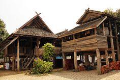 บ้านไทลื้อ หนองบัว น่าน Traditional Decor, Traditional House, Thai Decor, Thai House, Vernacular Architecture, Natural Building, Wooden House, House Roof, Tropical Houses